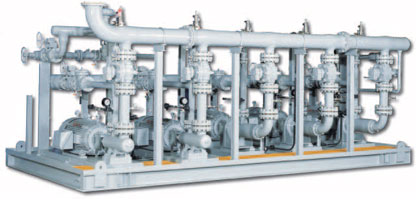 IFS skid-mounted High Pressure Packaged Pump Systems are engineered with double or triple screw pumps, ready-to-plug-in as fuel oil pumps or heavy oil pipeline pumps.