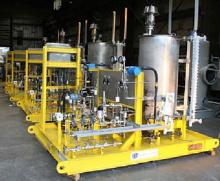 Process Chemical Injection System Packages are also known as Chemical Feed Systems or Chemical Dosing Systems and typically feature dosing pumps.